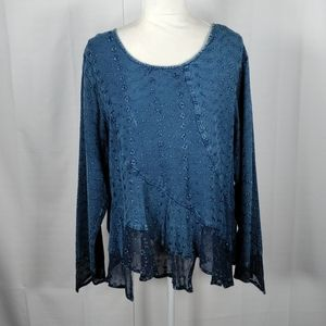 Sacred Threads blue chambray blouse XL 6110